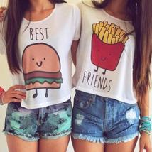 S-XL 1PC New Casual Crop Tops Women Summer Round Neck Best Friends Print T Shirt