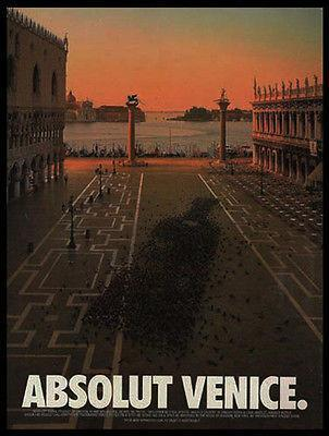 Primary image for Absolut Venice Pigeons Plaza 1995 Vincent Dixon Photo Ad Absolut Vodka