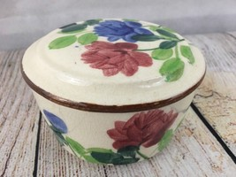 Hand Painted Floral Jar With  Lid From Japan Trinket Dish Sugar Bowl - $13.98
