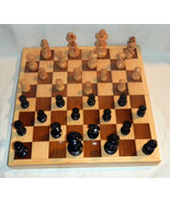 10X10 Square Box All Wood Pcs Ajedrez Chess Game Set Handcrafted In Mexi... - $46.75