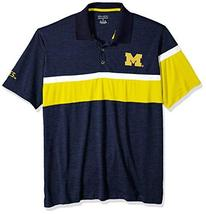 NCAA Michigan Wolverines Mens NCAA Men's Short Sleeve Striped Polo Collared Teec