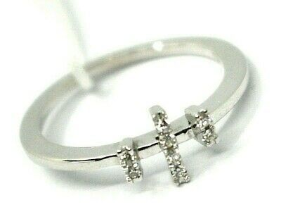 SOLID 18K WHITE GOLD RING, TRILOGY WITH CROSS, DIAMONDS