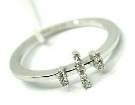 SOLID 18K WHITE GOLD RING, TRILOGY WITH CROSS, DIAMONDS image 1