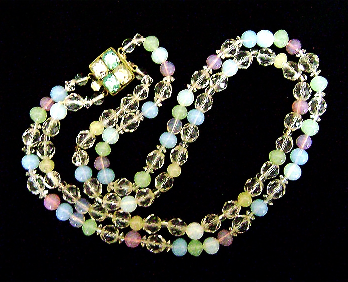 Primary image for Vintage Pastel Opalescent Glass Silver Rhinestone Big Clasp Necklace
