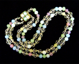 Vintage Pastel Opalescent Glass Silver Rhinestone Big Clasp Necklace - $38.00
