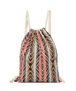 Ethnic style Drawstring Canvas Backpack, Tribal Boho Chic bag - $9.79