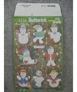 Christmas Craft No Sew Snowmen Christmas Ornaments Pattern Butterick 52... - $8.00