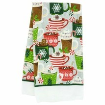 """Set of 2 Christmas Printed Polyester Holiday Kitchen Towels15x25"""" Hot Coco - $9.23 CAD"""