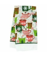 "Set of 2 Christmas Printed Polyester Holiday Kitchen Towels15x25"" Hot Coco - $6.99"