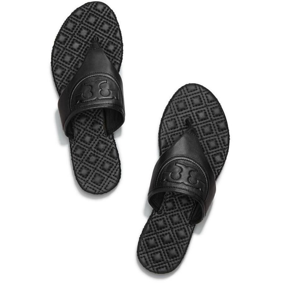 be9dbe43e850 Tory burch black fleming leather flat flip flop sandals size us 65 regular  m b 23542163 0