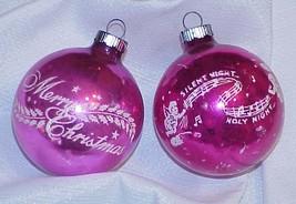 2 Vintage Pink Glass Stencil Christmas Ornaments - $15.00