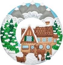 "Bucilla Felt Wreath Applique Kit 17""X17""-Winter Cabin - $36.43"