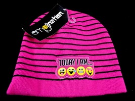 Emoji Beanie Pink Black Winter Hat Cap Tongue Crying Love One Size Today... - $6.92