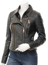 QASTAN Women's Superb Golden Zip Black Biker Sheep Leather Jacket QW46 - $147.51+
