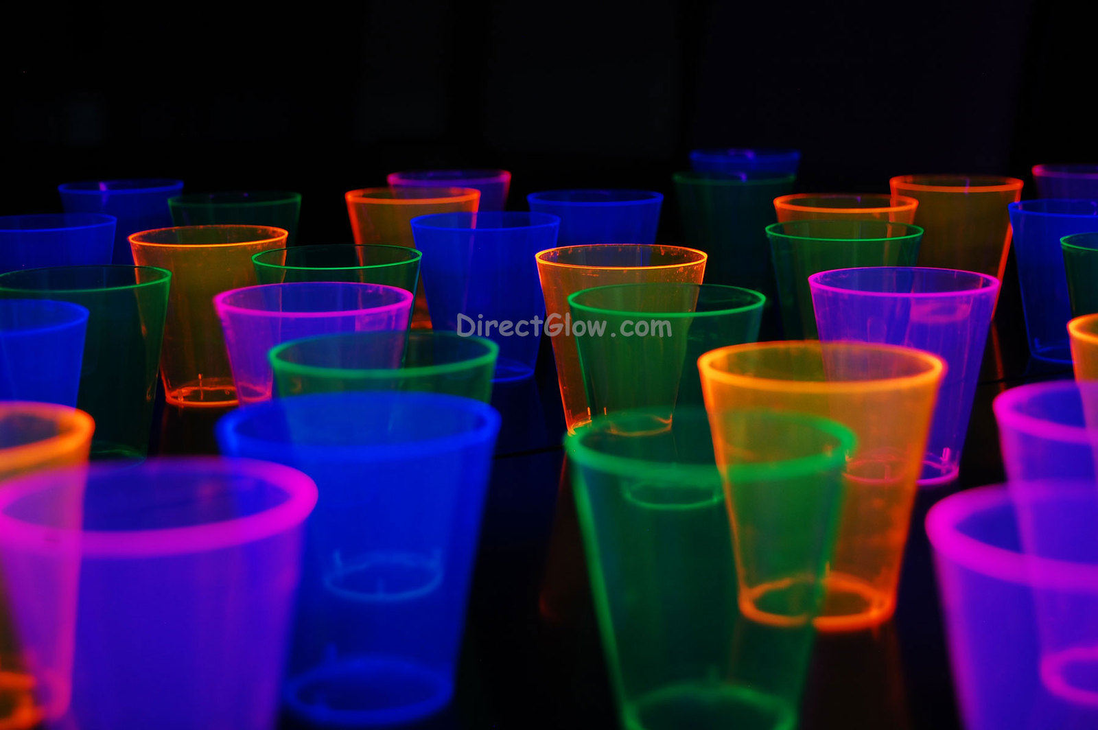 Assorted Neon Blacklight Reactive 2oz Shot Glasses 60ct