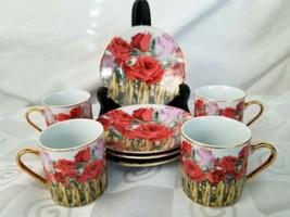 GNA Fine Porcelain Demitasse Espresso Cup and Saucer Set of 4 Rose Garde... - $40.80