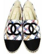 Chanel Espadrilles Black Cap Toe CC Logo Multicolor Tweed Flat Shoes Loa... - $399.99