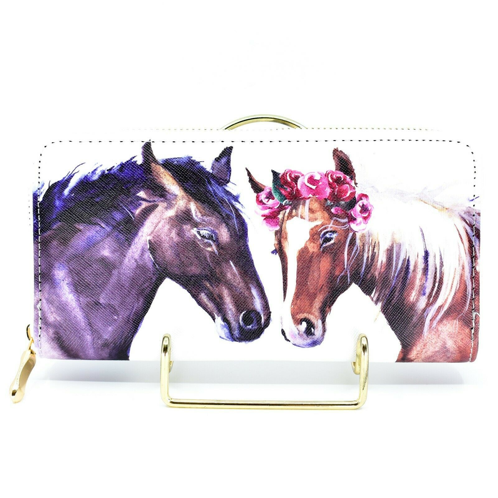 Bijorca Two Horses Country Western Vinyl Zippered Clutch Wallet New w Tags NWT