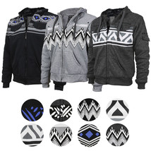 EKZ Men's Graphic Geo Tribal Fleece Lined Zip Up Sherpa Hoodie Jacket