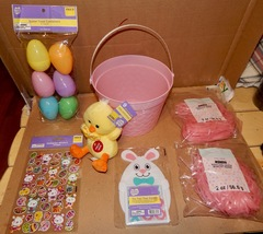 Easter Mix Lot 7 Items Basket Musical PlushChick Game Grass & Eggs Stickers 163N - $12.49