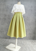 A-line High Waisted Winter Midi Party Skirt Wool-blend Midi Skirt Lime Green image 2