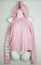 VICTORIA'S SECRET PINK PULLOVER HOODIE LOGO COLD SHOULDER CROPPED SIZE X... - $27.68