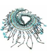 Vintage Signed 925 Sterling Silver Turquoise Southwestern Animal fringe Necklace - $98.99