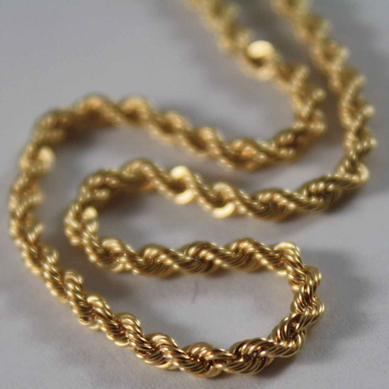 18K YELLOW GOLD CHAIN NECKLACE, BRAID ROPE LINK 15.75 INCHES, MADE IN ITALY