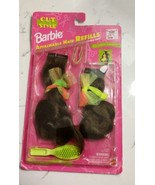 New Vtg Barbie Cut Style Attachable Hair Refill 1994 Brunette Brush Ribb... - $17.75