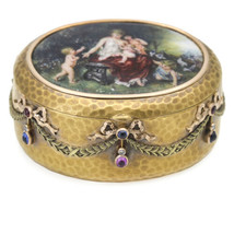 Antique Hand Painted Enamel 18k Yellow Gold Pill Snuff Box - $7,791.00
