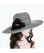 New NINE WEST Glam Floppy Derby Hat With Rosette Applique Semi-Rigid Mes... - $14.38