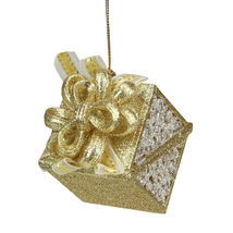 "Seasons Elegance Gold/Silver Glitter Gift Christmas Ornament 3.25"" - tkcc - $23.95"