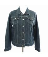 Lands End Trucker Style Denim Jean Jacket Womens Sz L 14-16 - $33.85