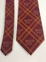 "Virginia Tech Hokies Tie Necktie VT Red Stripe Eagles Wings 56 x 3.75"" - $33.66"