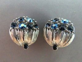 VTG Lisner Rhinestone Earrings Blue AB Flower Basket Silver Rhodium Text... - $29.69