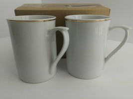 Gibson Everyday Gold Band Porcelain Tall White Coffee Mugs Set of 4 - $9.99