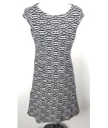 Anne Klein Fit and Flare Dress 6 Black White Stripes Stretch - $39.59
