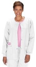 Cherokee Workwear S White Womens Round Neck 4350 Warm Up Scrub Jacket New - $21.53