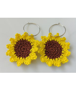Crochet Sunflower Earrings / Sunflower Earrings / Handmade Sunflower Ear... - $12.00