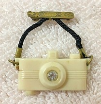 Vintage Tiny Plastic Camera Pin 1 1/4 wide w Metal Top Bar Pin - $34.16