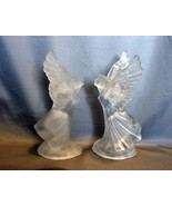 Pair of Satin Frosted Crystal  Angel Spread Wings Taper Candle Holder - $22.00