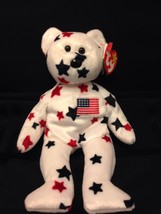 Glory Beanie Baby/Babies American Flag Bear Red/White/Blue TAG ERROR! - $34.60