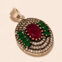 Natural  Ruby, Emerald Gemstone 925 Sterling Silver Turkish Jewelry Pendant New - $22.44