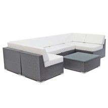 Outdoor Rattan Sectional Sofa Set Patio Wicker Couch Aluminum Sofa Loung... - $1,169.00