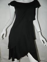 Philosophy Di Alberta Ferretti Dress Black Asymmetrical Hem Italy Dress Sz 4 - $83.90