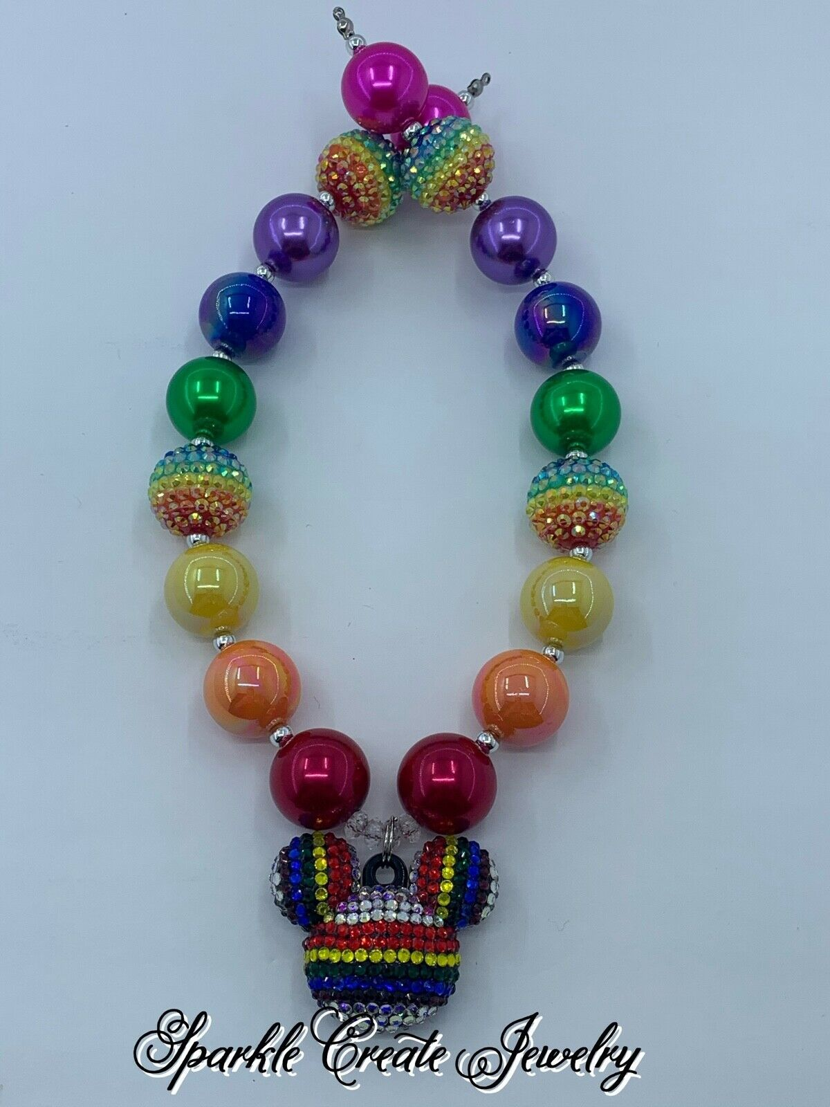 LIMITED EDITION: Disney Mickey Mouse Rainbow Chunky Bubblegum Necklace
