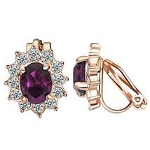 Yoursfs Cubic Zirconia Crystal Flower Earrings Womens Non Piercing Earri... - $11.07