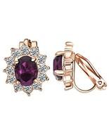 Yoursfs Cubic Zirconia Crystal Flower Earrings Womens Non Piercing Earri... - $11.88
