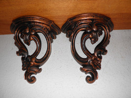 "2 True Vintage Wall Sconces French Rococo Style Bronze Color USA 9x9"" BI... - $73.37"