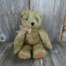Vintage Teddy Bear Plush Peach Bow Shiny Sparkle Stuffed Animal Felt Pad... - $39.59